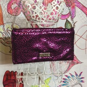 Betsey Johnson Clutch Purse with Chain. Fuschia